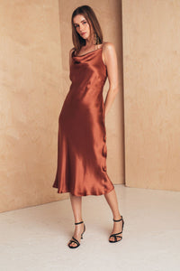 Midi Silk Slip Dress | Terracotta Dresses from MIONÈ curated by pu·rist