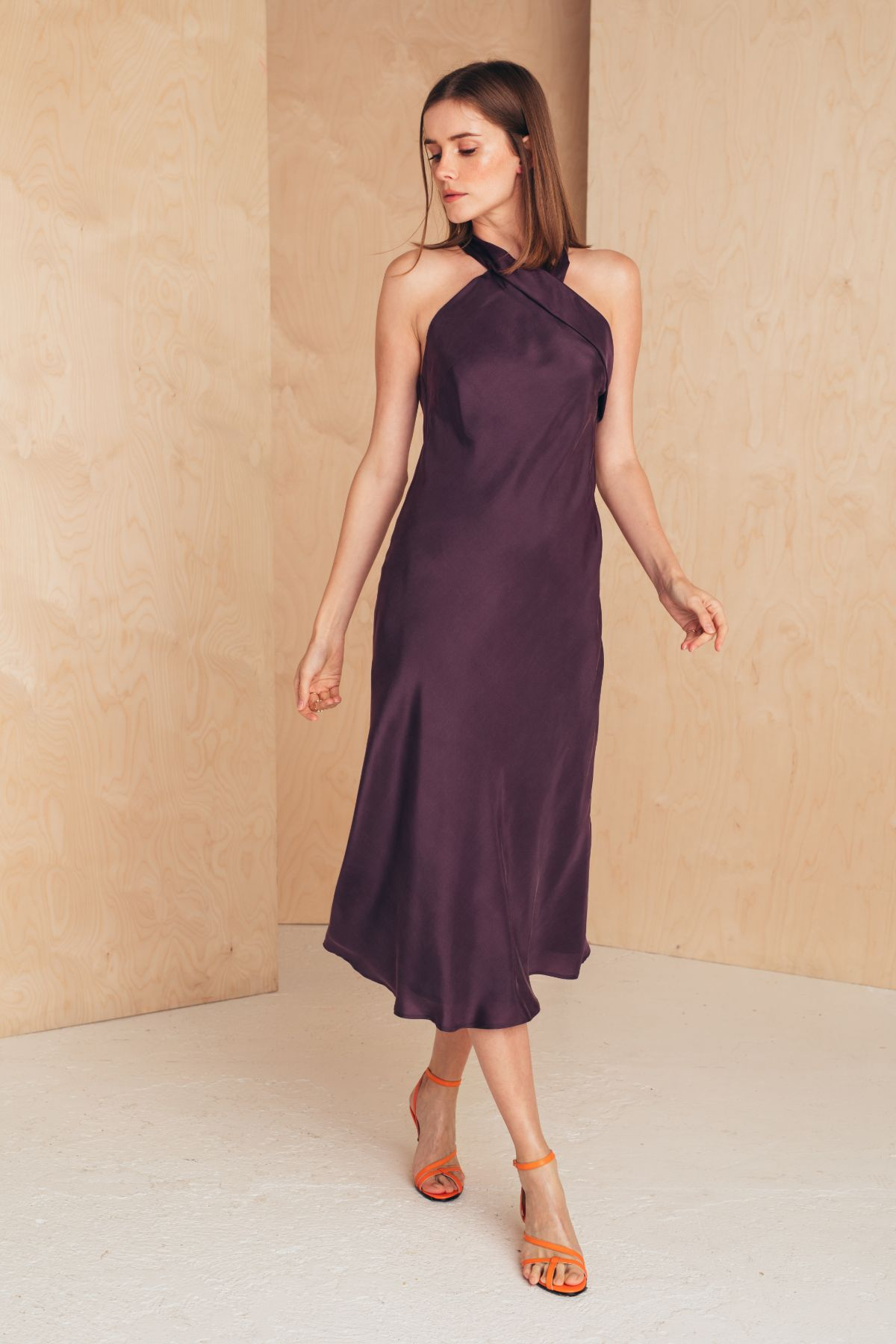 Halter Neck Silk Dress Dresses from MIONÈ curated by pu·rist