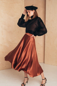Flattering Silk Midi Skirt | Terracotta SKIRTS from MIONÈ curated by pu·rist