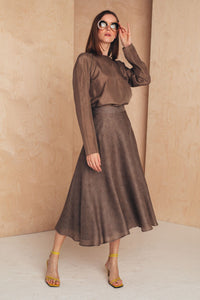 Flattering Midi Skirt Silk/Wool SKIRTS from MIONÈ curated by pu·rist