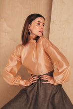Load image into Gallery viewer, Silk-Organza Blouse With High Neck | Nude blouses from MIONÈ curated by pu·rist