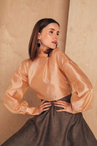Silk-Organza Blouse With High Neck | Nude blouses from MIONÈ curated by pu·rist