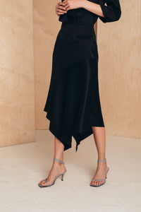 Silk Skirt With Asymmetric Hem SKIRTS from MIONÈ curated by pu·rist