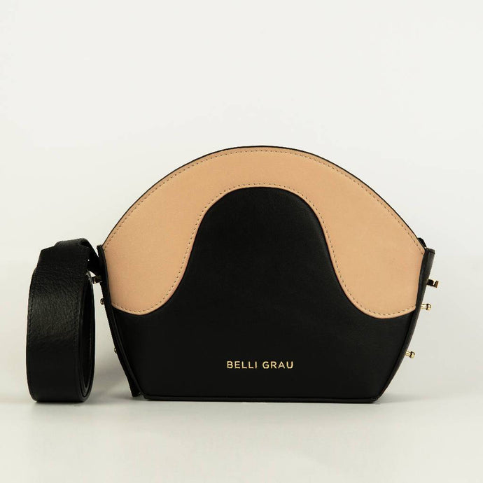 Neli Handmade Black & Pink-Leather Handbag-Belli Grau-pu·rist