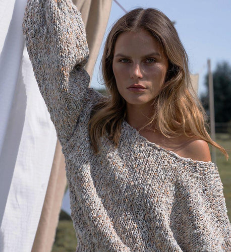 Floo Straw | Knitted Puff-sleeve Pull-Sweaters-charlotte pringels-pu·rist