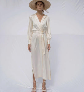Angelica | Silk Font Buttoned Dress-Dresses-charlotte pringels-pu·rist