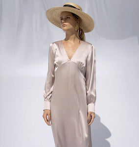 Alison | Silk Long V-Neck Dress-Dresses-charlotte pringels-pu·rist
