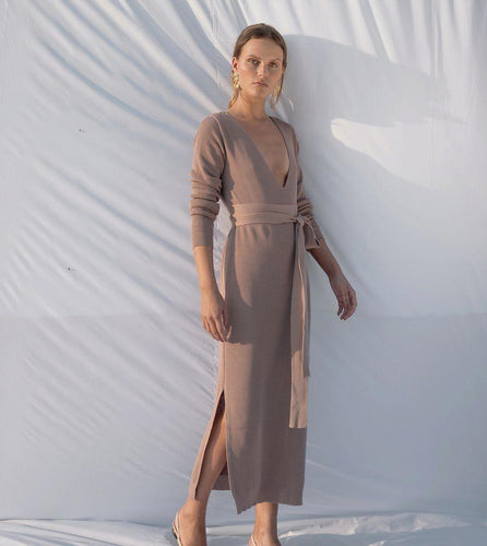 April | Knitted V-Neck Dress-Dresses-charlotte pringels-pu·rist