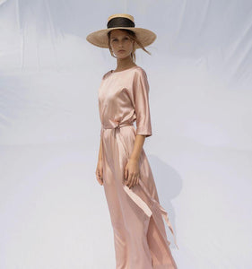 Aloë | Silk Cut-in-one-sleeve Dress-Dresses-charlotte pringels-pu·rist