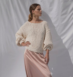 Floo Ivory | Knitted Puff-sleeve Pull-SWEATER-charlotte pringels-pu·rist