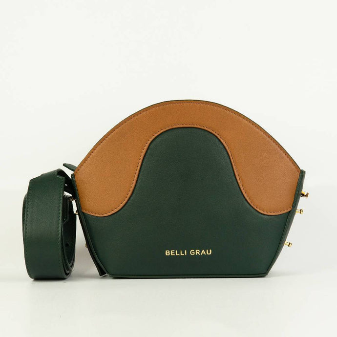 Neli Handmade Green & Brown-Leather Handbag-Belli Grau-pu·rist