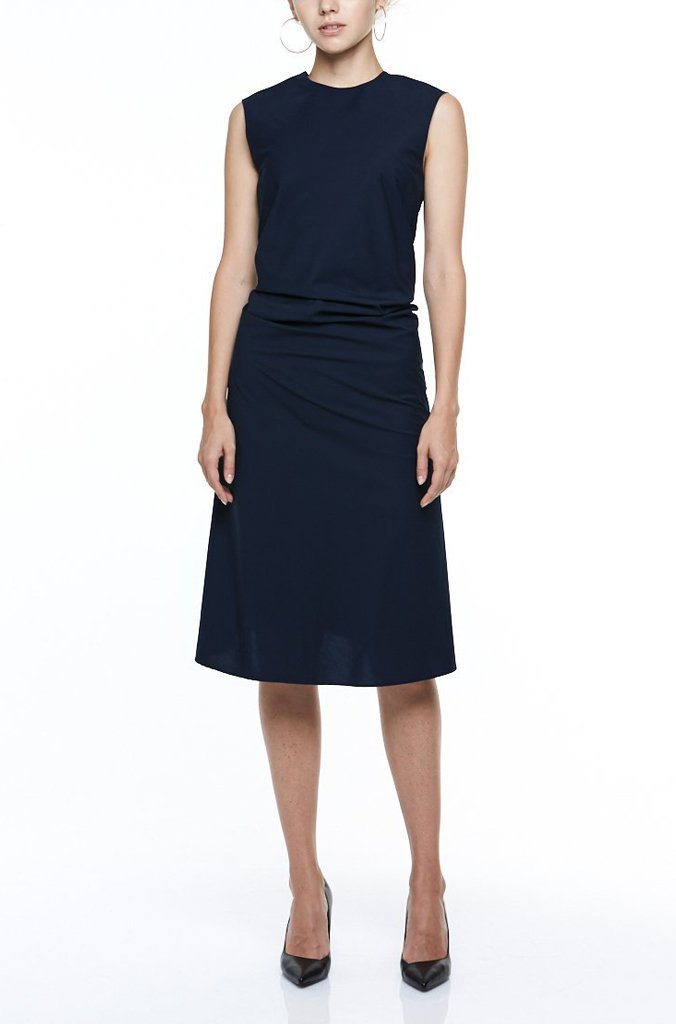 SINGLE-SEAM DRESS WITH DRAPED FRONT | MIDNIGHT BLUE Dresses from akinn curated by pu·rist