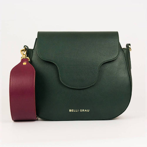 Elena Handmade Green & Burgundy-Leather Handbag-Belli Grau-pu·rist