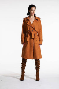 Faux suede trench coat (Kate Barlow) Outerwear from Blackburd curated by pu·rist