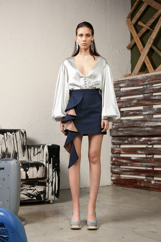 DENIM MINI SKIRT WITH ROUCHES-SKIRTS-pu·rist-pu·rist