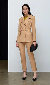 Beige Jacket with Belt-blazers-IRÁRO-pu·rist