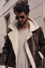 Load image into Gallery viewer, Brown Unisex Aviator Jacket-Outerwear-Blackburd-pu·rist