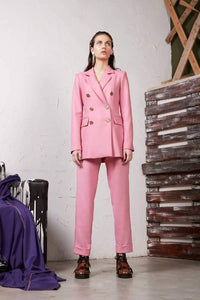 Wool double breasted blazer and pants-Suit-pu·rist-IT 40 - S-Pink-pu·rist
