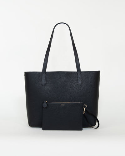 Bellagio Tote bag in grained leather - Black/Gray bags from MODHER curated by pu·rist