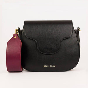 Elena Handmade Black & Burgundy-Leather Handbag-Belli Grau-pu·rist