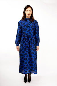 Stella blue printed silk dress Dresses from asneh curated by pu·rist