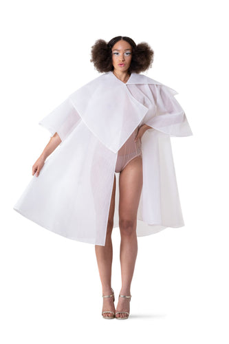 WHITE PRINCESS TULLE CAPE - pu·rist