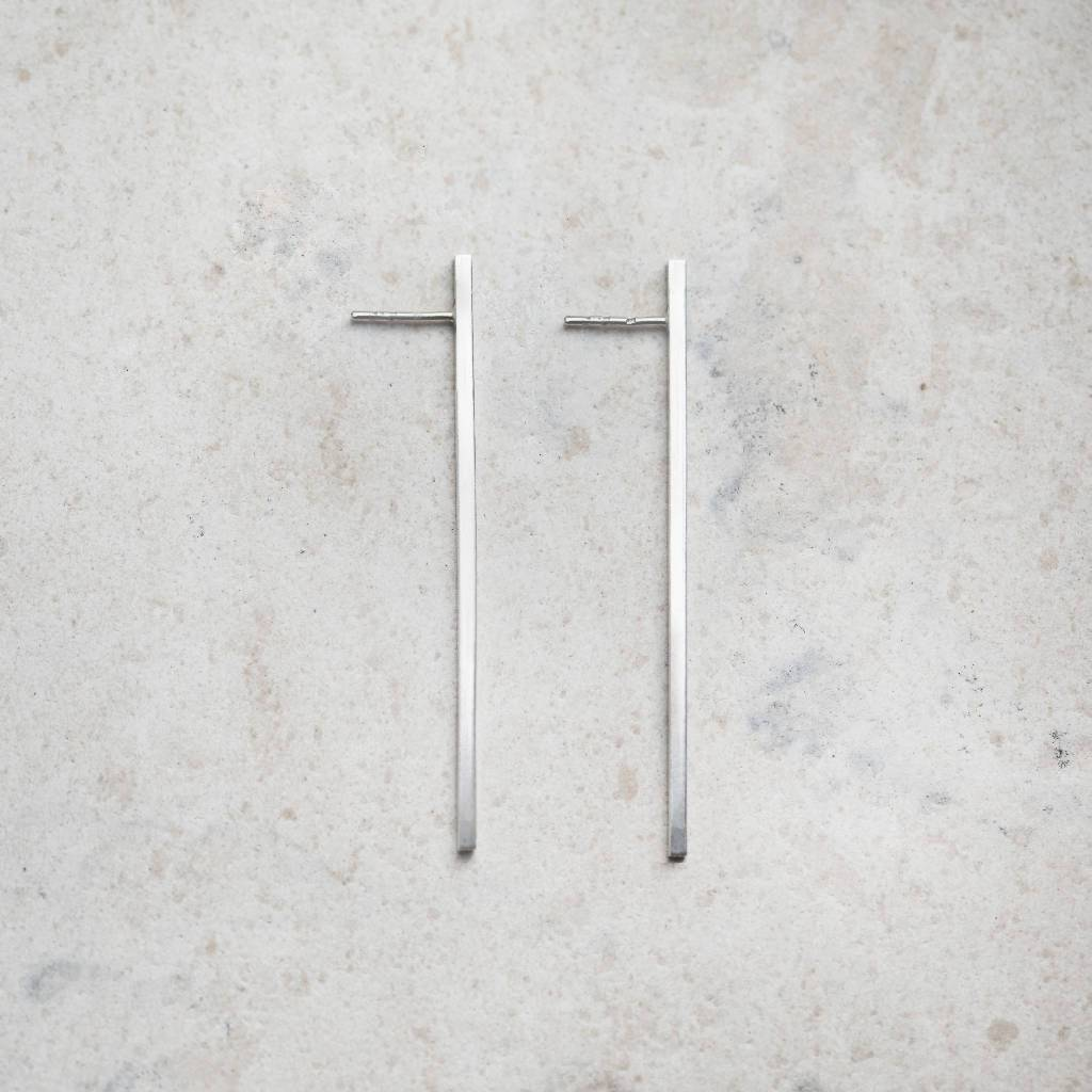 Long Silver Bar Earrings-Earrings-IIOO-pu·rist