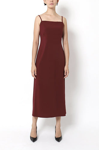 SPAGHETTI STRAP DRESS WITH LAYERED BACK FOLDS | WINE Dresses from akinn curated by pu·rist