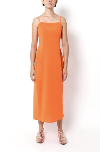 SPAGHETTI STRAP DRESS WITH LAYERED BACK FOLDS | ORANGE Dresses from akinn curated by pu·rist
