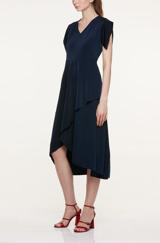 V-NECK DRESS WITH DRAPED SLEEVES AND OVERLAP SKIRT Dresses from akinn curated by pu·rist