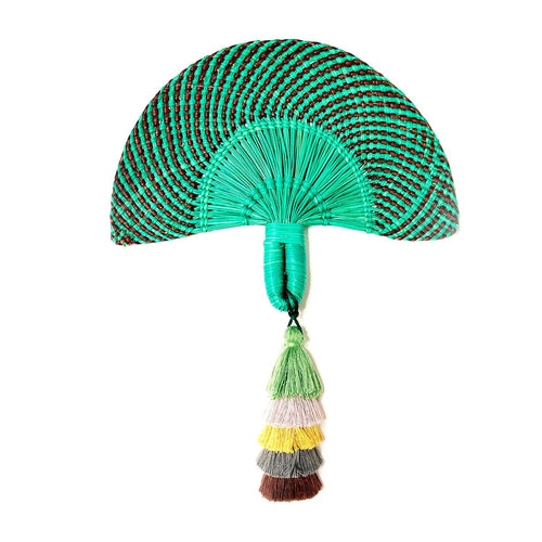 Emerald beetle raffia hand fan-accessories-ara-pu·rist