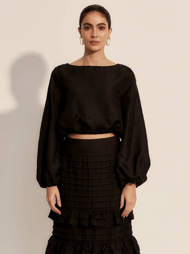 The Battu Crop Top - Moonless-Blouse-L'ETE FEMME-pu·rist