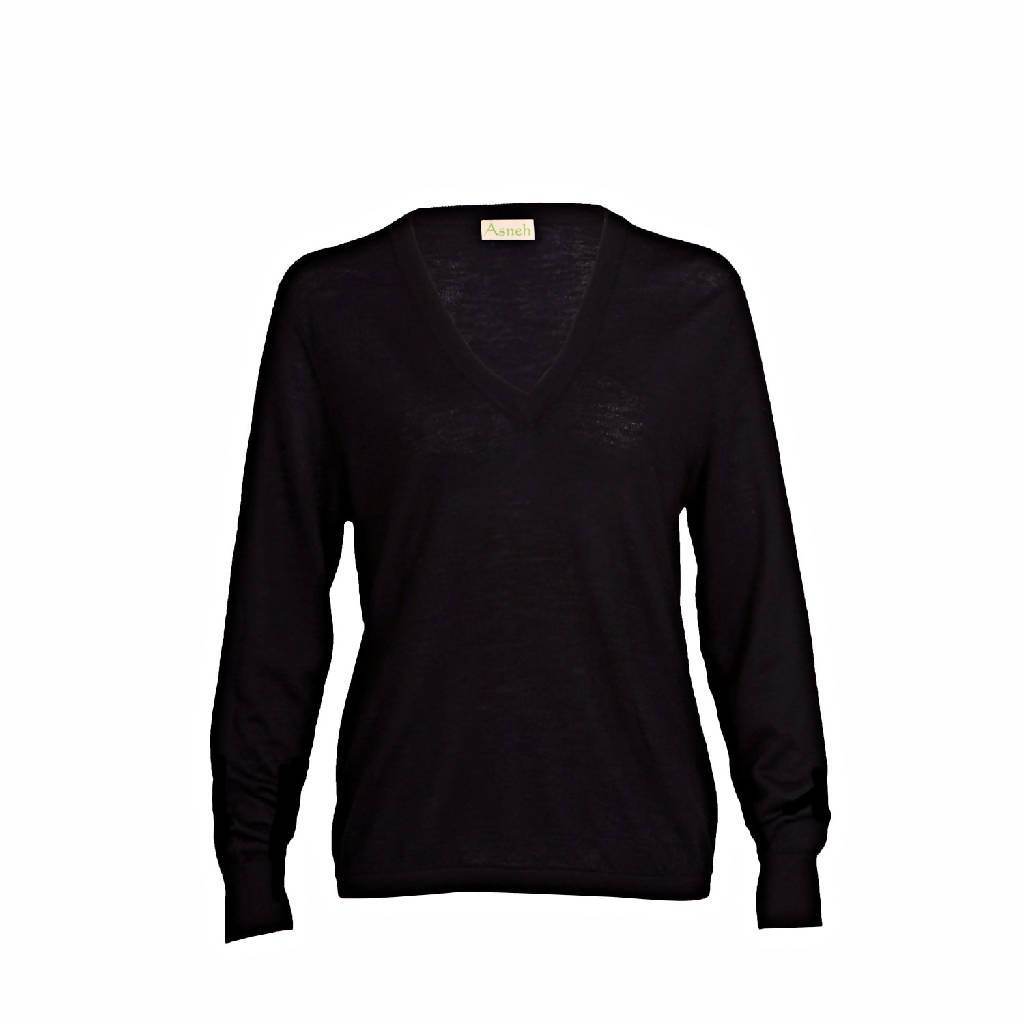 Mathilda Black Cashmere V-neck Sweater in fine knit 100% cashmere v-neck jumper from asneh curated by pu·rist