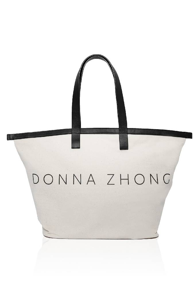 Oversized Canvas Tote Bag-handbags-DONNA ZHONG-Ivory/Black-pu·rist