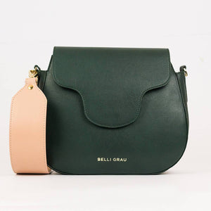 Elena Handmade Green & Pink-Leather Handbag-Belli Grau-pu·rist