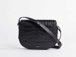 Ana Croc Crossbody, Matte Black Handbags from Verlein curated by pu·rist