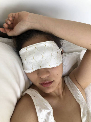White Silk Eye Mask-eye mask-WOODROSE-pu·rist