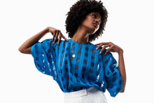 Load image into Gallery viewer, Dee Gingham Top (Cobalt Blue) Pre-order-Top-MOIRAI-pu·rist