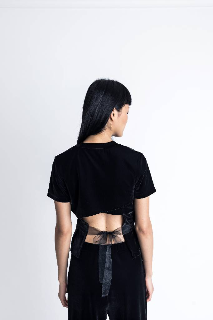 Basic Velvet Tee with back overlap-top-DONNA ZHONG-XS-Black-pu·rist