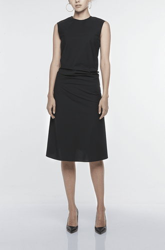 SINGLE-SEAM DRESS WITH DRAPED FRONT | BLACK Dresses from akinn curated by pu·rist