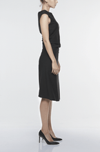 Load image into Gallery viewer, SINGLE-SEAM DRESS WITH DRAPED FRONT | BLACK Dresses from akinn curated by pu·rist