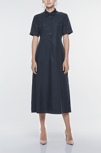 LONG SHIRT DRESS WITH HANDSEWN CUFF DETAIL Dresses from akinn curated by pu·rist