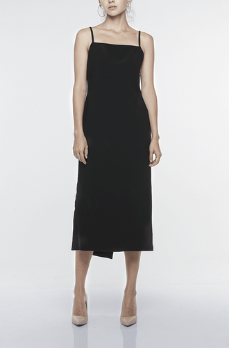 SPAGHETTI STRAP DRESS WITH LAYERED BACK FOLDS | BLACK Dresses from akinn curated by pu·rist