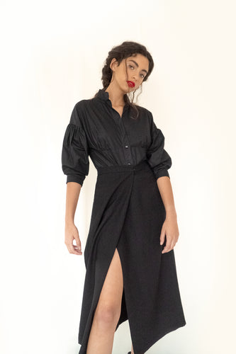 Puff Sleeves Carmen Shirt Black