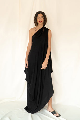 Asymmetrical One Shoulder Grès Dress