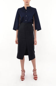 COLLARLESS CAPE SLEEVED SHIRT  | NAVY