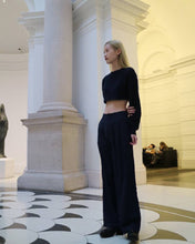 Load image into Gallery viewer, Navy wide leg trousers-Trousers-Blackburd-pu·rist