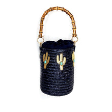 Load image into Gallery viewer, Turquoise Cactus Raffia Bucket - pu·rist