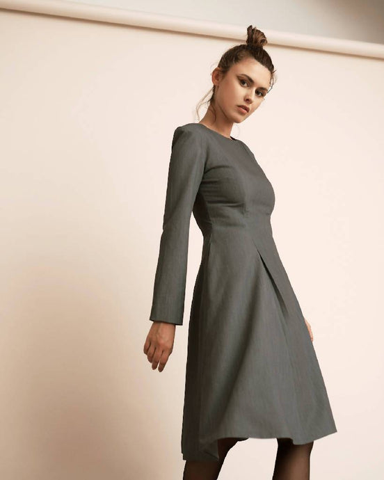 GREY DRESS WITH PLEATS-DRESSES-STASA-pu·rist