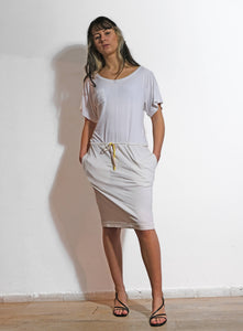 Tie waist jersey dress white